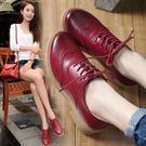 單鞋女潮新款英倫風布洛克女鞋復古小皮鞋平底牛津鞋『韓女王』