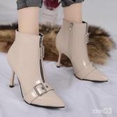 性感高跟短靴尖頭瘦瘦靴細跟高跟鞋2020漆皮亮皮OL時尚短靴裸靴女春 LR17771【Sweet家居】