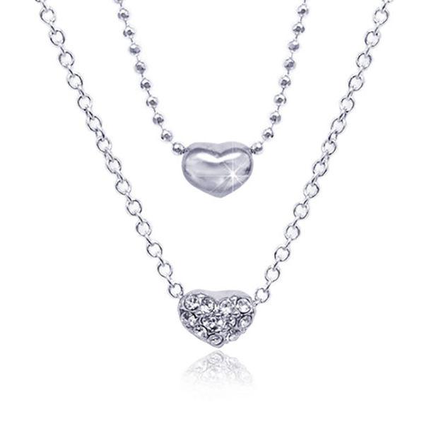 【Aguchi 亞古奇】奇雅系列‧心心相印-經典水鑽銀項鍊飾品 (日本製)