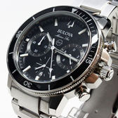 [萬年鐘錶]  BULOVA寶路華   200M防水 三眼 計時碼錶  黑錶面  銀鋼帶 男錶 96B272