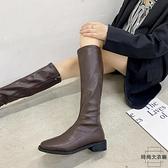 騎士靴側拉鏈高筒顯瘦長筒靴女不過膝長靴【時尚大衣櫥】