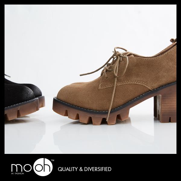 歐美全真皮粗跟綁帶厚底牛津鞋 簡約素色圓頭短靴馬丁靴 mo.oh (歐美鞋款)