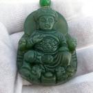 【歡喜心珠寶】【廣澤尊王雕像玉墜】天然綠碧玉雕「附保証書」碧玉為加強親和力之魅力寶石