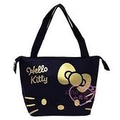 小花花日本精品HelloKitty黑金大臉造型設計保溫袋保冷袋便當袋野餐袋手提袋外出袋多功能袋~3