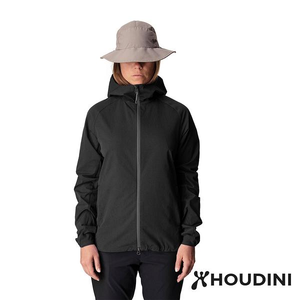 【瑞典 Houdini】Daybreak Jacket 休閒防風連帽外套 女款 純黑 #149864