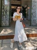 魚尾洋裝 氣質長款魚尾裙夏季新款法式白色泡泡袖超仙顯瘦小香風連身裙女 愛麗絲