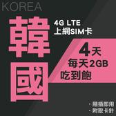 韓國上網卡 4天 每天2GB吃到飽 獨家雙電信 4G上網 吃到飽上網SIM卡 即插即用 網路卡 漫遊卡