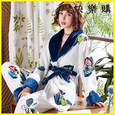 浴袍睡袍 珊瑚絨睡衣法蘭絨加厚加絨長袖家居服
