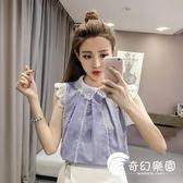 2018夏裝新款韓版娃娃領鏤空蕾絲打底衫拼接雪紡襯衫女短袖上衣潮-奇幻樂園