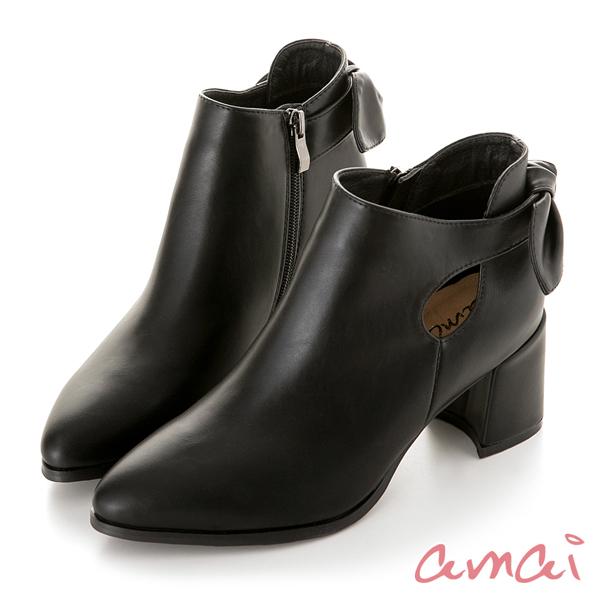 amai 啾麗葉簍空跟靴 黑