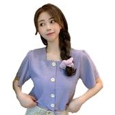 EASON SHOP(GW7160)實拍抓皺鈕釦前排釦薄款短版下襬綁繩方領露鎖骨短袖素色襯衫T恤女上衣服寬鬆內搭
