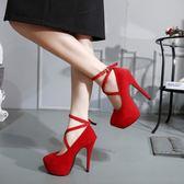 16CM超高跟粗跟綁帶涼鞋恨天高單鞋性感夜場女鞋細跟
