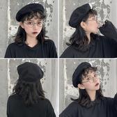 帽子 貝雷帽女ins英倫複古毛呢畫家八角蓓蕾帽子秋冬季韓版潮日系黑色