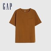 Gap男童 純棉質感厚磅短袖T恤 764972-淺棕色