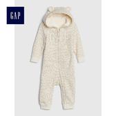 Gap女嬰兒 logo長袖連帽一件式包屁衣 497696-象牙白