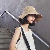 休閒百搭韓版棉麻遮陽帽子女夏出游太陽帽防曬可折疊漁夫帽盆帽潮   蜜拉貝爾
