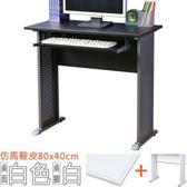Homelike 格雷80x40工作桌-仿馬鞍皮(附鍵盤架)-白桌面/白腳