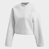 ADIDAS 3-STRIPES DOUBLEKNIT 女裝 長袖 短版 休閒 寬鬆 可調節下擺 灰【運動世界】FR5115