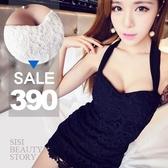 SISI【D5004】微美女神 氣質繞頸綁帶蕾絲拼接包臀連身裙洋裝 婚禮辣妹跑趴夜店
