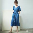 CANTWO鐘型波浪袖開襟洋裝-牛仔藍...