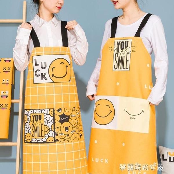可愛卡通廚房圍裙時尚男女圍裙廚房烘焙圍裙家用定制圍裙防水圍腰 夢露時尚女裝