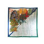 HERMES 樹葉圖案藍綠絲巾 90x90cm 【BRAND OFF】