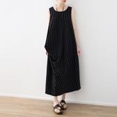 洋裝-長款寬版條紋不規則下擺無袖女連身裙73sm47【巴黎精品】