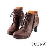 SCONA 全真皮 率性綁帶高跟短靴 咖啡色 8773-2
