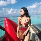 韓版泳衣 女ins透明性感 玫瑰刺繡大露背 深V情趣連體沙灘泳衣女