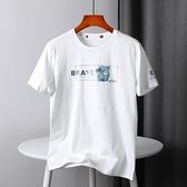 短袖T恤 外貿男裝時尚印花純棉圓領短袖T恤男潮
