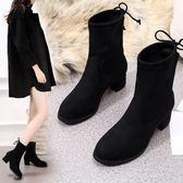 2018新款短靴女秋冬粗跟彈力靴女靴高跟圓頭中筒靴英倫風馬丁靴子  韓風物語