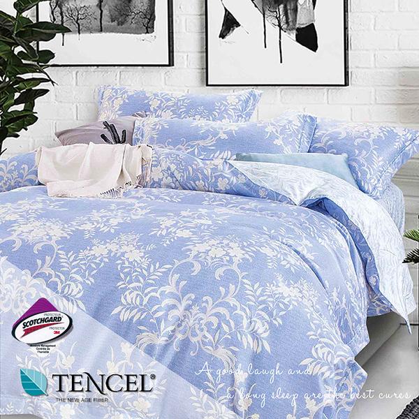 天絲床包三件組 特大6x7尺 輕語(藍)   頂級天絲 3M吸濕排汗專利 床高35cm  BEST寢飾