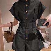 連體褲 2021年新款夏季法式設計感小眾系帶收腰顯瘦時尚炸街工裝連衣褲女 嬡孕哺