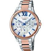 【台南 時代鐘錶 CASIO】SHEEN 宏崑公司貨 SHE-3056SPG-7A 蜜桃金三眼日期晶鑽腕錶