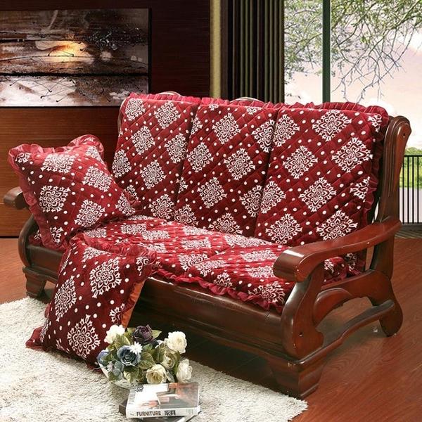 單人木椅墊實木沙發墊三人座厚海綿 可拆洗