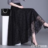 黑色百褶半身裙女夏季高腰長款紗裙子新款薄款寬鬆大擺網紗裙 居家物語