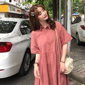 胖mm連身裙2019夏季新款胖妹妹韓版寬鬆翻領顯瘦減齡遮肚大碼女裝 韓流時裳