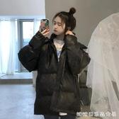 棉衣/棉服女-冬季新款韓版寬松bf百搭棉衣棉服女中長款加厚黑色面包服外套 糖糖日系