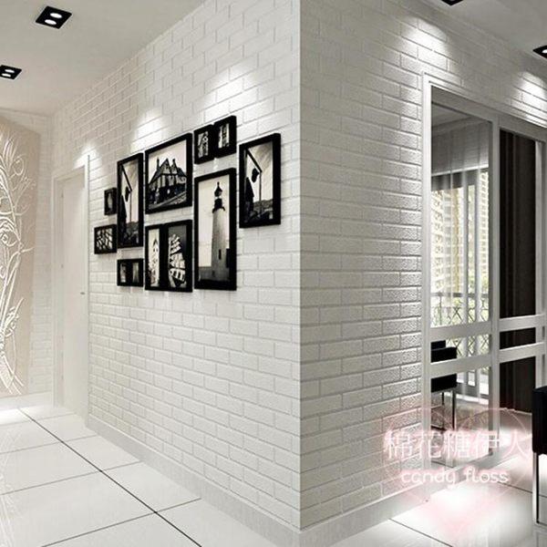 服裝店美發店3d立體白色磚紋景墻壁紙LVV2702【棉花糖伊人】
