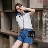 韓版拼色短袖雪紡衫寬鬆氣質襯衫 衣普菈