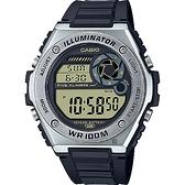 CASIO 卡西歐 10年電力金屬風計時手錶-黑 MWD-100H-9A