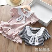童裝連身裙女童夏季新款時尚娃娃領休閒學院風短袖百褶連身裙  可然精品鞋櫃