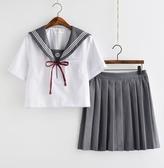 日系JK制服灰領白三本刺繡關西襟水手服女校服班服學院風學生套裝