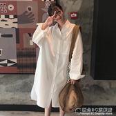 夏裝女裝韓版中長款翻領側開叉寬鬆長袖襯衫連身裙學生襯衣上衣潮 概念3C旗艦店