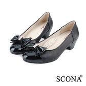 SCONA 全真皮 都會OL舒壓跟鞋 黑色 9938-1
