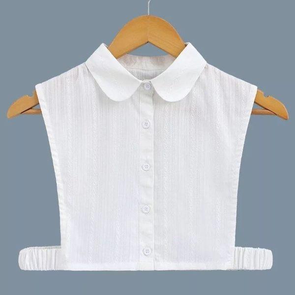 假領子襯衫假衣領 圓領緹花布 帽T洋裝襯衫針織大學T毛衣內搭 白色[E1402]  預購.朵曼堤洋行