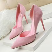 韓版顯瘦細跟高跟鞋子 絨面側鏤空尖頭鞋《小師妹》sm530