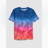 Gap男童休閒短袖圓領口袋T恤419978-粉色紮染