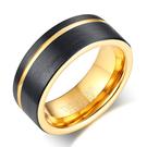 《 QBOX 》FASHION 飾品【RTCR-049】精緻個性簡約凹槽拉絲面黑金鎢鋼戒指/戒環
