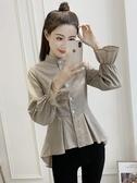 格子襯衫女裝2020春季新款韓版立領收腰娃娃衫設計感小眾襯衣上衣   蘑菇街小屋